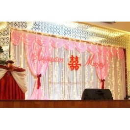 Backdrop with Fairy Light & Pink Decor
