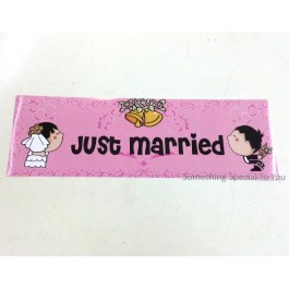 Just Married Car Plate Sticker