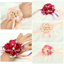 10PCS Flower Wristband (Maroon/ Purple/ Pink/ Light Pink)